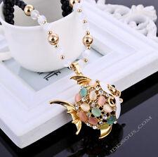Damen Halskette Perlen AAA Zirkonia Strass Handarbeit Glücksbringer Anhänger NEU