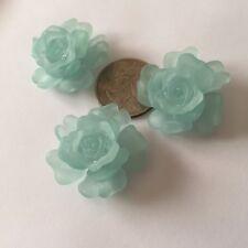 10 sets - 30 pcs - Aqua Blue-Green 15-32mm 3 Piece Rose Flower Acrylic Beads