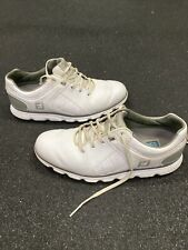 FootJoy Pro SL Sz 7.5 M  White Silver Leather Spikeless Golf Shoes 53579