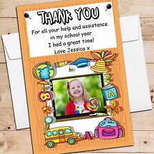 10 Personalised School Teacher Thank you PHOTO Post Cards Notes N167