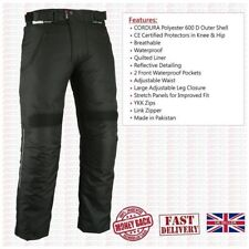 BLACK Motorcycle Textile Trousers CE Armour Waterproof Motorbike Thermal Pant UK