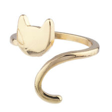 Lux Accessories Goldtone Cat Kitten Kitty Emoji Novelty Open Ended Ring Size 8
