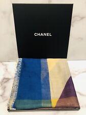 "CHANEL CC 80% Cashmere 20% Silk Multi Color Geometric Shawl Stole Scarf 76""X 50"""