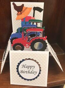 Beautifully Handmade Tractors/ Farm themed pop up card