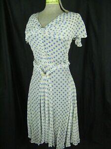 Antique 1920s Light Blue Dots White Chiffon Flapper Dress-Bust 33/3XS-2XS, AS-IS