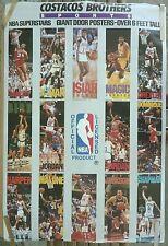 VERY RARE NBA SUPERSTARS 1989-90 VINTAGE ORIGINAL COSTACOS BROTHERS POSTER