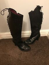 low knee leather boots with lace up