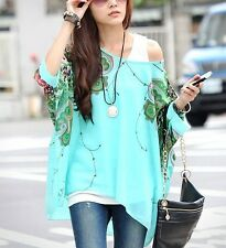 Femme bohème hippie batwing manches en mousseline de soie blouse loose off shoulder shirt