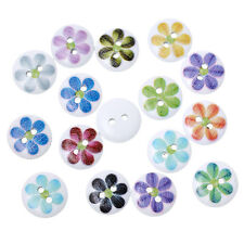 10 Round Wooden Mixed Colour Flower design Buttons 15mm Sewing Crafts