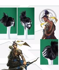 Hot Game Overwatch OW Shimada Hanzo Full Wig Black Hair Wigs Beard Cosplay Prop