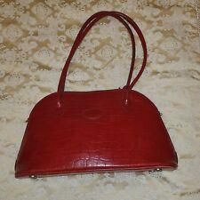 Genuine Vintage Mulberry deep red croc embossed congo leather sholder bag