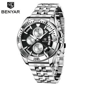 Benyar BY-5180 Men Watch Date Quartz Chronograph Waterproof Steel Bracelet Reloj