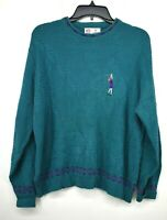 VTG Isle Of Cotton Women's Blue USA Made Crew Neck Cable Knit Pullover Sweater M