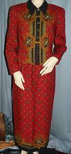 Donna Morgan 2 Piece Dress Jacket & Skirt  Red Royal Crest Design Size 6 Lined
