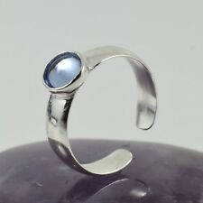 Silver Band Sapphire Cabochon Free size Ladies Fashion Toe Ring Solid Sterling
