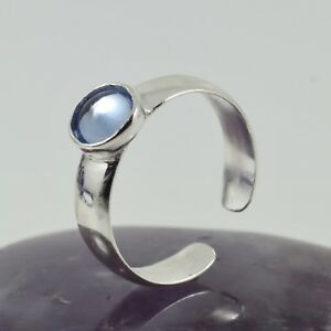 Ladies Fashion Toe Ring Solid Sterling Silver Band Sapphire Cabochon Free size