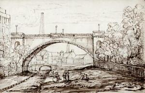 INDUSTRIAL TOWN LANDSCAPE Antique Pen & Ink Drawing - 19TH CENTURY