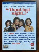 About Last Night DVD 1986 Erotico Sesso Commedia Film W / Rob Lowe E Demi Moore