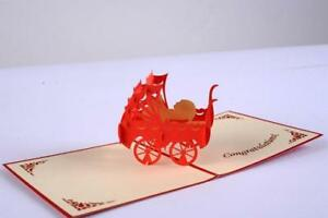 Creativity Handmade Origami Born Baby carriage blessing Birthday Greeting Card