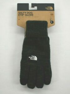 The North Face Mens Black Etip Salty Dog Knit Tech Lined Gloves Suede Trim S/M
