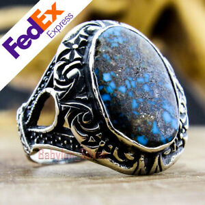 Natural Turquoise Stone Turkish 925 Sterling Silver Men's Ring 11 US Free Resize