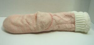 New Jane and Bleecker Pink Slipper Socks Grippers Fleece Cable Knit Size 4-10