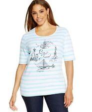 "NWT Karen Scott ""Love to Travel"" Drawing striped Knit Top T-Shirt Teal/White 1X"