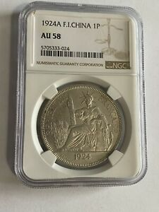 1924-A French Indo-China 1 Piastre World Silver Coin - Vietnam NGC AU58