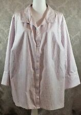 Catherines Woman Blouse/Shirt Long Sleeves White/red Stripes Cotton 3X    260