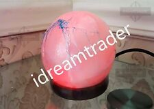 HIMALAYAN SALT LAMP-WHITE GLOBE SHAPE-RED COLOUR LED INSIDE- BEST GIFT