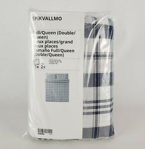 Ikea Spikvallmo Full/Queen Duvet Cover w/2 Pillowcase White Blue Checked Bed Set