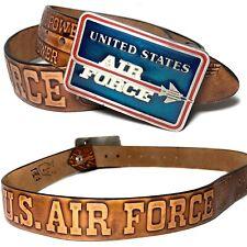 36 Vintage United States Air Force Usaf Tooled Leather Snap Belt Enamel Buckle