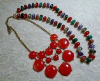 VINTAGE TO NOW MULTI COLOR ORANGE & GREEN LUCITE BEADED NECKLACE LOT