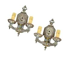 """Pair Of 1930'S Vintage American Double Arm """"Electric Candle"""" Wall Sconces"""
