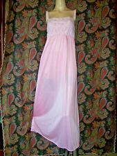 Vintage Usa Pink Nylon Lacy Empire Nightgown Nighty Lingerie