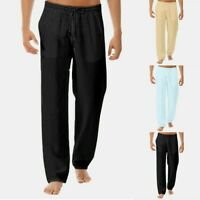 Men's Summer Simple Loose Breathable Cotton Linen Trousers Casual Pants US