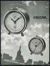 1950 Vintage Enicar Alarm Clocks Surrealist Modernist Clock Art Design Print AD