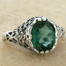 GREEN SIM EMERALD 925 STERLING SILVER ANTIQUE STYLE RING SZ 10,#717