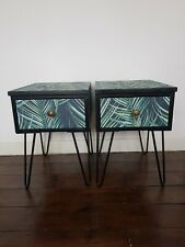 Bespoke Pair of Bedside Tables Cabinets. Handmade Painted Upcycled Furniture