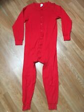 Vtg 80s Mr Johns On Thermal Union Suit Buttoned Red Ribbed Knit Usa Made L