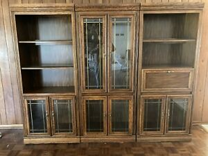 3-Pc Sectional Glass & Wood Cabinet