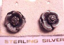 "Vintage 925 Sterling Silver Camellia Flower Marcasite Earring 5/8"" x 5/8"" 4g"