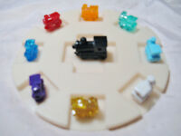 8 MEXICAN TRAIN DOMINO-TICKET TO RIDE GAME MARKERS w/ROUND HUB & 1 LARGE ENGINE