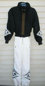 Beautiful Vintage Bogner Ski Snowboard Snow Suit Belt Hood Embroidered 8 Small