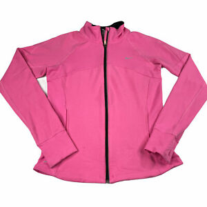 Nike Dri-Fit Zip Up Jacket Thumbholes Pink Womens Size Medium
