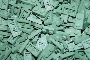 LEGO 200 x SAND GREEN PLATE BRICKS 1 x 2 PIN No 3023 CITY-STAR WARS-MOVIE