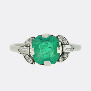 Platinum Diamond Ring - Art Deco 0.80 Carat Emerald and Diamond Ring Platinum