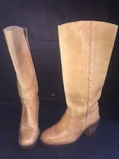 VINTAGE 70's TALL KNEE HIGH CAMPUS BOOTS  WOVEN SIDE Hippie Hipster BOHO Sz 38