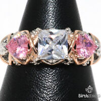 Pink Heart Sapphire White Cushion CZ Ring Women Jewelry 14K White Gold Plated