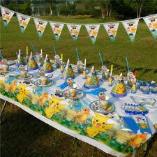 136 X Kids Pokémon Geburtstag Party Dekorationen Geschirr Thema Gefallen Set